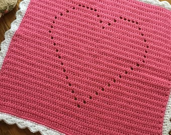 Pink Baby Blanket, Heart Blanket, crochet baby blanket, Toddler Blanket, Ready to Ship, Pink and White Baby Nursery, Baby Girl Gift