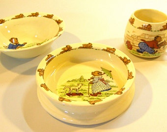 Vintage Childs Serving Set Sylvac England 3pc
