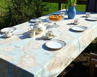 Table cloth etsy custom size table cloth tablecloth world map fabric atlas table linnen wedding party tablecloth babyshower table linnen gumiabroncs Image collections
