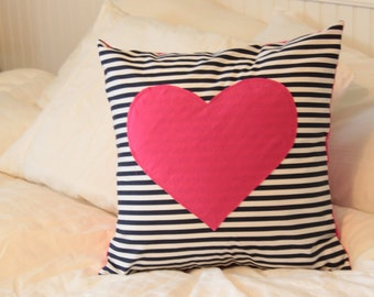 Navy Stripe Heart Pillow Cover