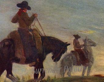 Gauchos After A Long Ride Argentina Cowboys  A S Forrest 1910 Original Antique Watercolor Vintage Lithograph To Frame