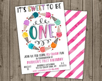 Ice Cream First Birthday Invitation - Watercolor Birthday Ice Cream Invite - Ice Cream Shoppe - 5x7 JPG DIGITAL FILE (Front and Back Design)
