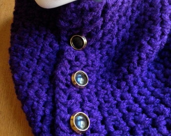 Scarflette Cowl Neckwarmer Purple Crocheted with Gold Black Buttons