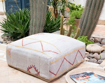 Moroccan Pouf, Cactus Silk Pouf Ottoman, Floor Cushion, Floor Pillow, Foot Stool, Refashioned from a Berber Sabra Rug. PNS143