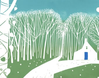 Woodland Cottage - Large Linocut - Green Summer - White Cottage - Original Limited Edition of only 15 - Landscape  by Giuliana Lazzerini