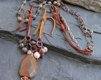 Landslide - Faceted Brecciated Red Jasper Pendant, Copper and Leather Necklace