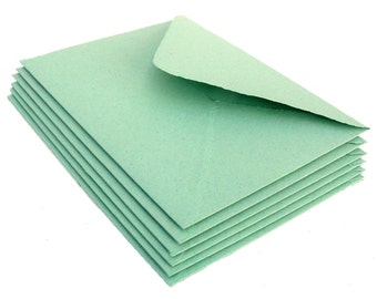 Mint green envelopes, handmade paper, recycled, A2 size, set of 10
