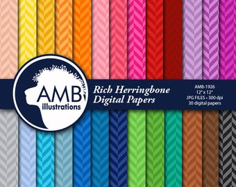 Herringbone papers, Chevron Digital paper, 30 Chevron backgrounds, 30 Herringbone, scrapbooking backgrounds, AMB-1926