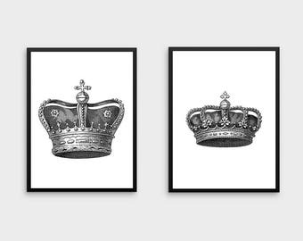 King and Queen Wall Decor | King and Queen Crown, Couples Gift, King and Queen Print, King and Queen Crowns, Wall Art Set
