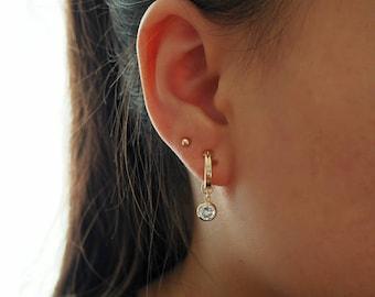 14k Gold Filled .5 Inch Hoop Earrings with CZ Diamond