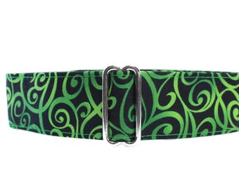 Green Martingale Dog Collar, Swirl Martingale Collar, 1.5 Inch Martingale Dog Collar