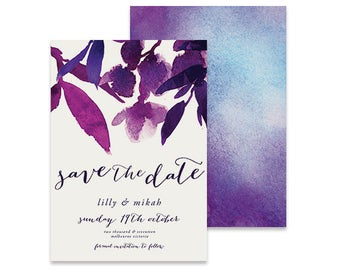 Purple Save the Date Invitation | Mikah | Printable DIY Wedding Invite, Bright purple with watercolour flowers / leaves seave the date