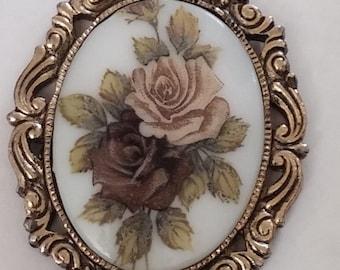 Vintage Neo-Victorian Porcelain Mirror Reversible Pendant