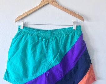Vintage 1990's St. John's Bay COLORBLOCK Diagonal STRIPE Retro Drawstring Ripstop Mesh Lined SWIM Shorts Swimtrunk Size Large