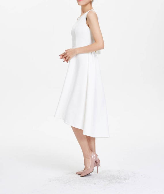 party white evening irregular white dress dress dresses dress low white Elegant high tCIqwZW