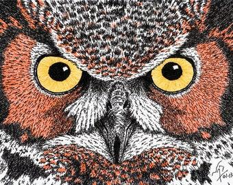Art Print // OWL EYES - Pen & Ink