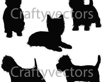 West Highland White Terrier Dog SVG Silhouettes