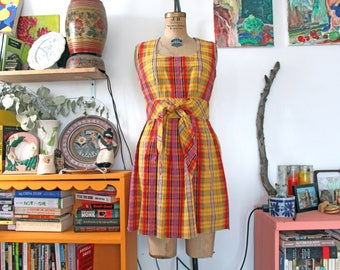 1970s Concept 70's multicolor SWIRL summer plaid dress. small-medium