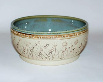 Stoneware Ceramic Pottery Bowl / Carved Flowers