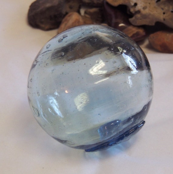 Vintage Japanese GLASS FISHING FLOAT.. Sapphire Blue. Bubbles & Striations (#1)