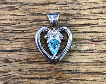 Blue Topaz Sterling Silver Heart Pendant