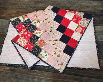 Beautiful, Feminine Patchwork Baby Quilt - Red, Navy, Pastel Pinks - Baby Pink Dimple Dot Minky - Baby Girl Quilt -Ready to ship
