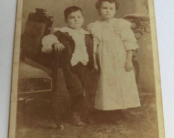 Cabinet Card Photo Two Cute Children Id'd as Frankie & Wildey Noland Walnut, Kansas