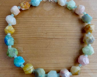Multicolor Knotted Necklace of Fire Agate and Amazonite, Sterling Silver Clasp, Pastel Shades