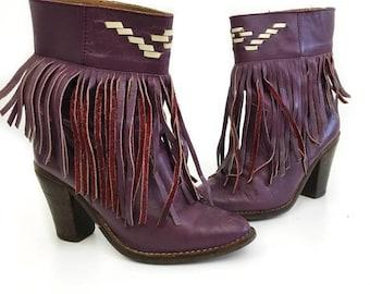 Vintage 80's Fringe Purple Leather Booties Size 6