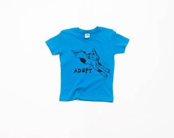 Adopt a Dog Tee, Kids Tee, Blue Tshirt, Baby Tee, 3-6 months- 4T