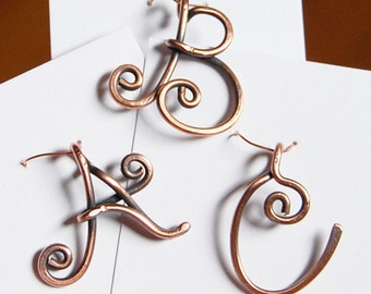 Initial Pendant, Charm, Oxidized, Copper Wire, Letter, Wire Jewelry