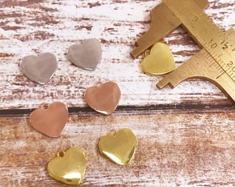 Heart Charm, Heart Pendant, Gold Plated Heart Charm, Rose Gold Plated Heart Charm, Heart Charms, Heart Necklace, Heart Jewelry,Heart Pendant