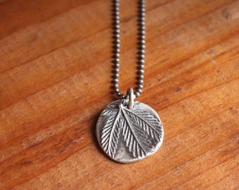 4g cannabis leaf peace sign necklace | recycled sterling chain + fine silver PMC | OOAK
