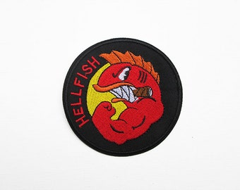 Simpsons Hellfish Embroidered Patch, Iron on Patches for Jackets Military Unit Emblem Curse of the Flying Hellfish Military Logo Patch