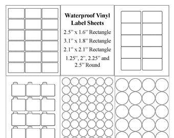 Blank Label Sheets, Waterproof Labels, Vinyl Labels, Jar Labels, Lip Balm Labels, Candle Labels, Round Labels, Vinyl Waterproof Stickers