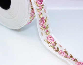 26 mm White Front Pink-Gold  Floral Jacquard ribbon (1.02 inches) - Jacquard trim - Balkans Decorative Ribbon - Sewing Trim - Collar Trim