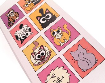 Cartoon Cats Card (warm colours) - blank inside - tall card with 8 squares of cute kitties on pink and orange backgrounds, cat lovers card