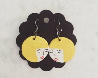Handmade Blonde Little Ladies Earrings