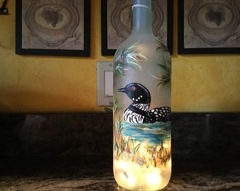 1.5 Ltr. Hand Painted Lighted Wine Bottle / Swimming Lake Loon on Lake with Bamboo Stalks/ Clear Bottle
