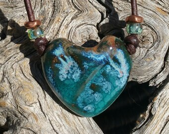 "Stoneware Aroma therapy necklace -  ""Swirling Waters"" - essential oil diffuser - Boho chic - heart pendant - #j16"