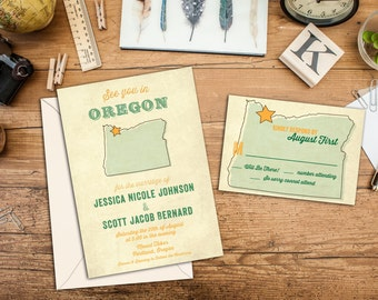 Vintage State Map Wedding Invitation Set, Rustic Wedding Invites, Destination Wedding, Wedding Response Card, Thank you cards, Save the Date