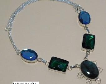 Labradorite Necklace Emerald Quartz, Mystic Quartz Hydro Silver Overlay Fashion Jewellery Fancy Designer Handmade Jewelry 18 Inch Gift Sale.