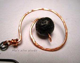 Essential Oil Lava Bead Diffuser Earrings, Silver/Copper Spiral