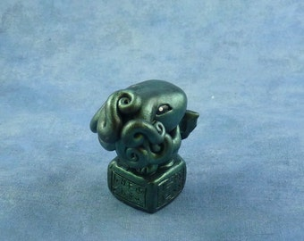 Dark Green Cthulhu Figure with Base, Original Horror Sculpture Inspired by H.P. Lovecraft
