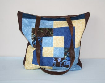 Handmade Tote Bag with Pockets, Upcycled Bag, Brown Blue Yellow Patchwork Bag
