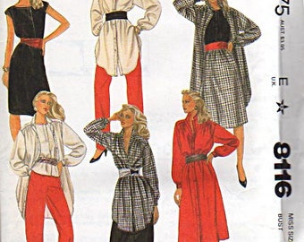 McCalls Pattern 8116 Misses Dress or Tunic, Top, Skirt and Pants UNCUT Size: 16