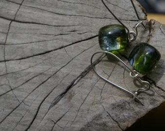 green irridescent glass earrings