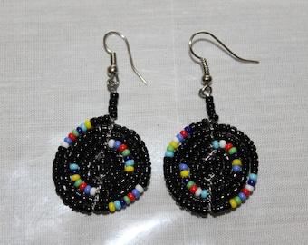 Small Maasai Disc Black Multi-colored Beaded Earrings