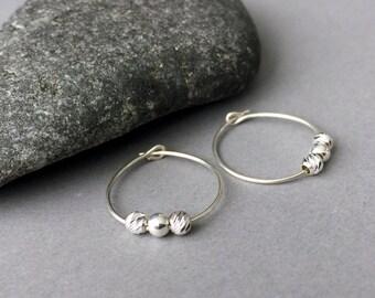Sterling Silver Hoop - Beaded Hoop Earrings - Silver Hoop Earrings - Sterling Silver Hoop Earrings - Small Hoop Earrings - Simple Earrings