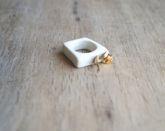 Porcelain Ring, white ring,flower Ring,Jewelry, hypoalergenyc ring,  Porcelain jewelry, Poetic ring, Ceramic Ring, gold ring